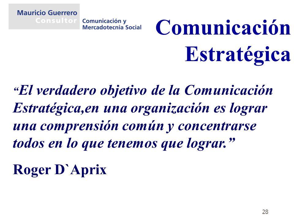 28 Comunicación Estratégica El verdadero objetivo de la Comunicación Estratégica,en una organización es lograr una comprensión común y concentrarse to
