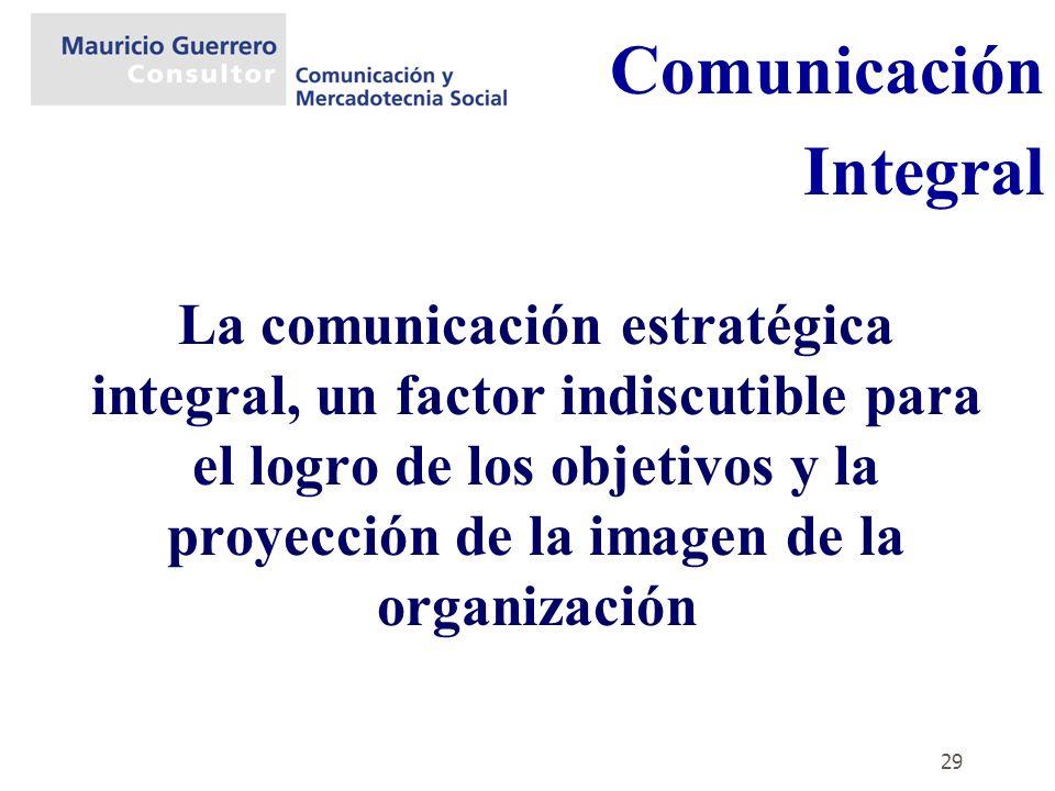 29 La comunicación estratégica integral, un factor indiscutible para el logro de los objetivos y la proyección de la imagen de la organización Comunic