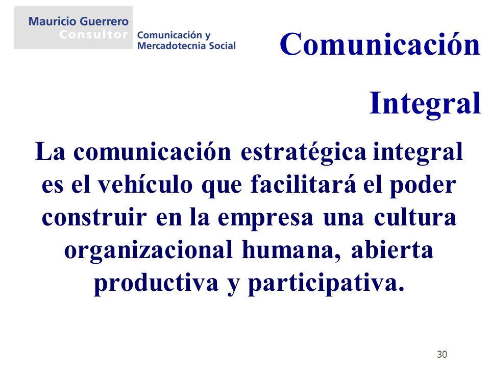 30 La comunicación estratégica integral es el vehículo que facilitará el poder construir en la empresa una cultura organizacional humana, abierta prod