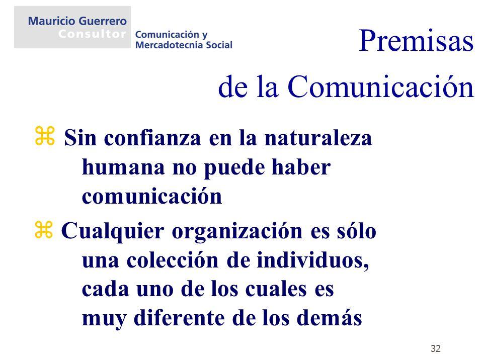 32 z Sin confianza en la naturaleza humana no puede haber comunicación z Cualquier organización es sólo una colección de individuos, cada uno de los c
