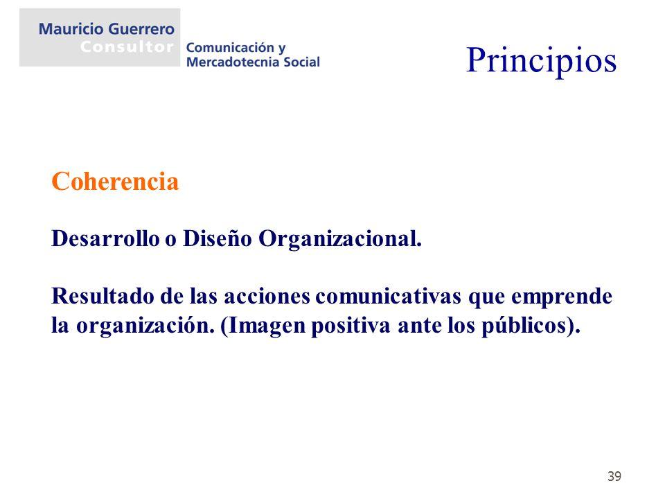 39 Coherencia Desarrollo o Diseño Organizacional. Resultado de las acciones comunicativas que emprende la organización. (Imagen positiva ante los públ