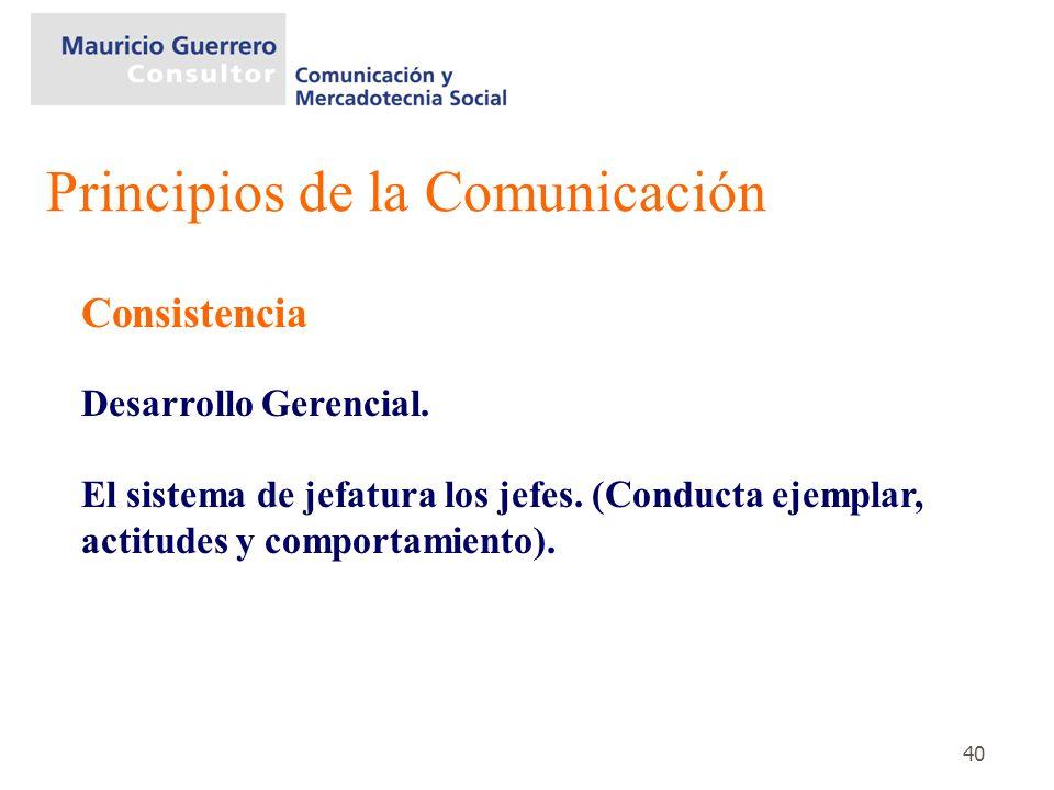40 Consistencia Desarrollo Gerencial. El sistema de jefatura los jefes. (Conducta ejemplar, actitudes y comportamiento). Principios de la Comunicación