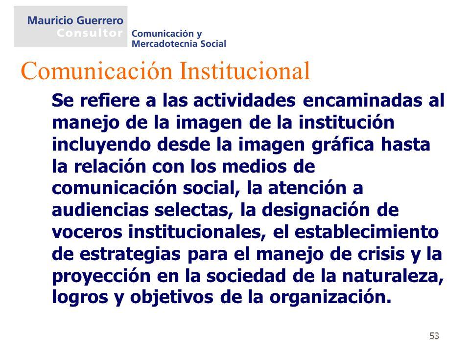 53 Se refiere a las actividades encaminadas al manejo de la imagen de la institución incluyendo desde la imagen gráfica hasta la relación con los medi
