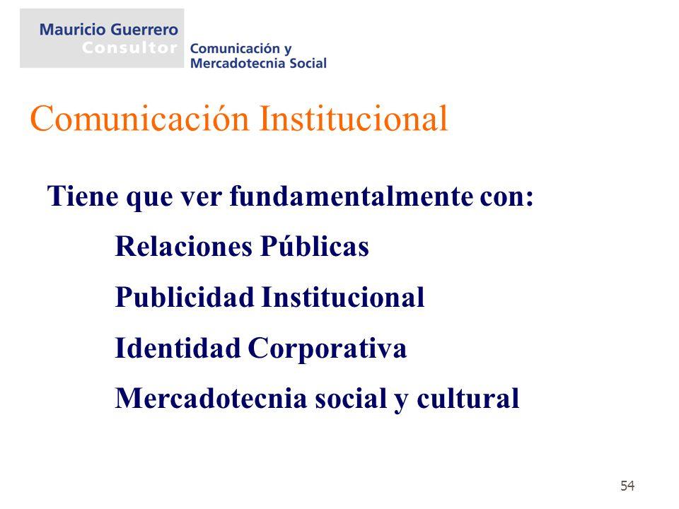 54 Tiene que ver fundamentalmente con: Relaciones Públicas Publicidad Institucional Identidad Corporativa Mercadotecnia social y cultural Comunicación