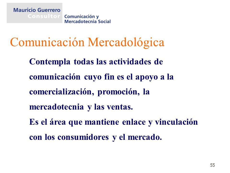 55 Contempla todas las actividades de comunicación cuyo fin es el apoyo a la comercialización, promoción, la mercadotecnia y las ventas. Es el área qu