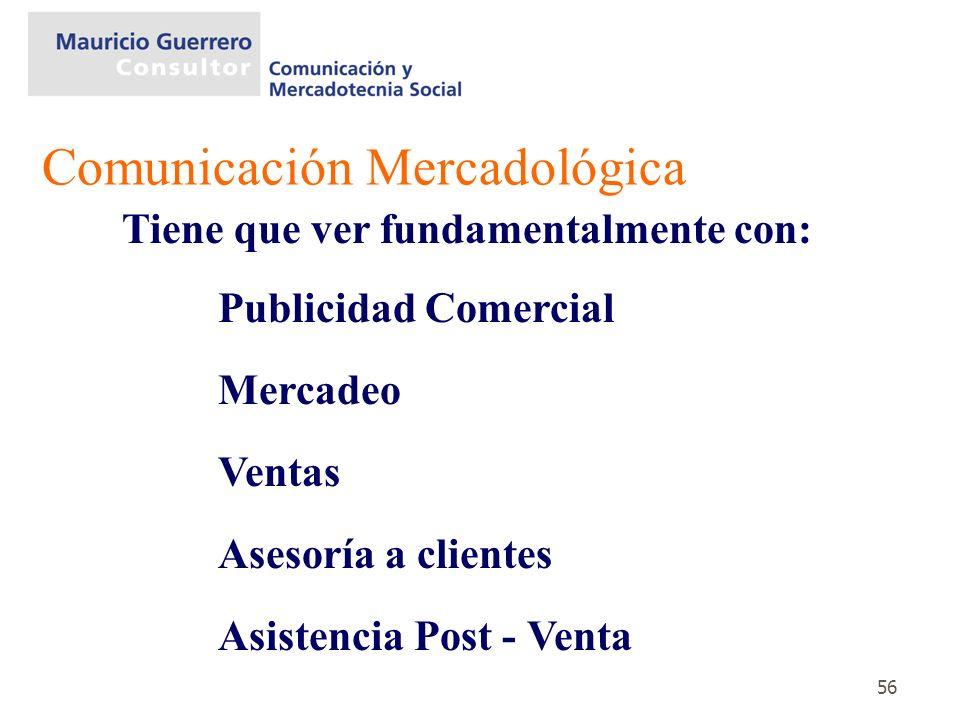 56 Tiene que ver fundamentalmente con: Publicidad Comercial Mercadeo Ventas Asesoría a clientes Asistencia Post - Venta Comunicación Mercadológica