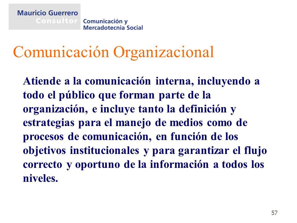 57 Atiende a la comunicación interna, incluyendo a todo el público que forman parte de la organización, e incluye tanto la definición y estrategias pa