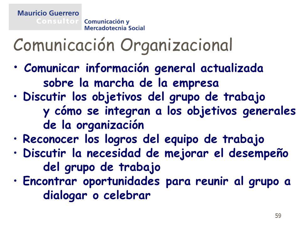 59 Comunicar información general actualizada sobre la marcha de la empresa Discutir los objetivos del grupo de trabajo y cómo se integran a los objeti