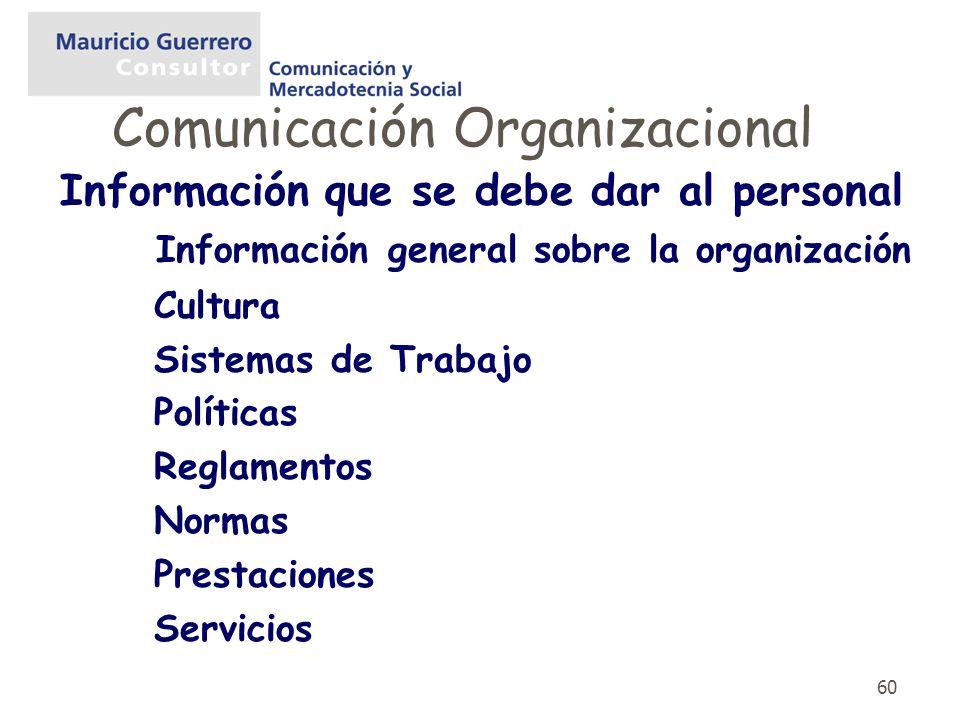 60 Información que se debe dar al personal Información general sobre la organización Cultura Sistemas de Trabajo Políticas Reglamentos Normas Prestaci