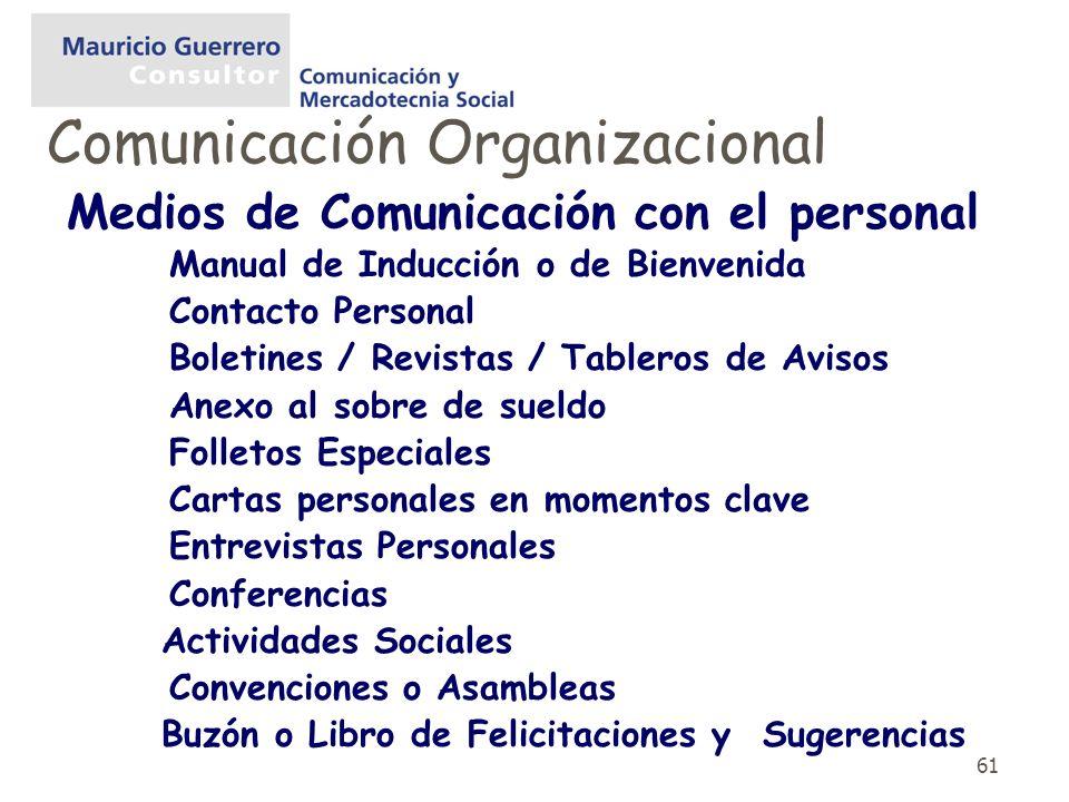61 Medios de Comunicación con el personal Manual de Inducción o de Bienvenida Contacto Personal Boletines / Revistas / Tableros de Avisos Anexo al sob