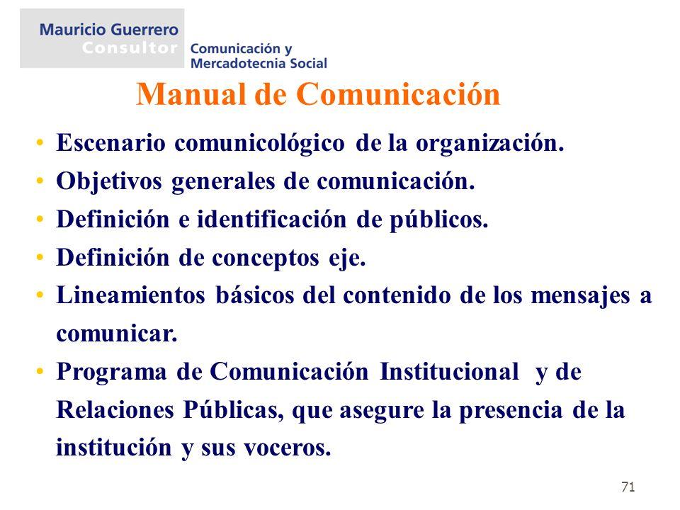 71 Escenario comunicológico de la organización. Objetivos generales de comunicación. Definición e identificación de públicos. Definición de conceptos