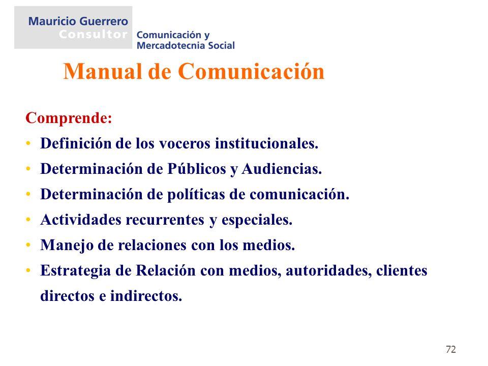 72 Comprende: Definición de los voceros institucionales. Determinación de Públicos y Audiencias. Determinación de políticas de comunicación. Actividad