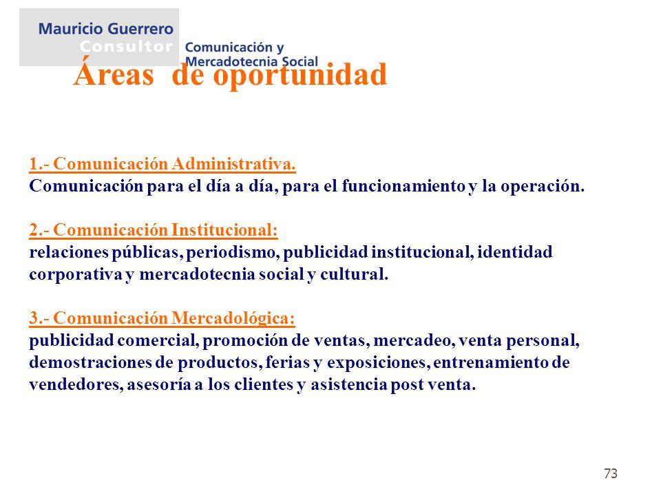 73 1.- Comunicación Administrativa. Comunicación para el día a día, para el funcionamiento y la operación. 2.- Comunicación Institucional: relaciones