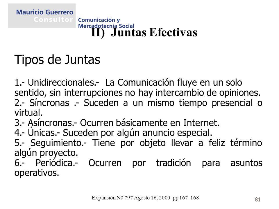 81 II) Juntas Efectivas. Tipos de Juntas 1.- Unidireccionales.- La Comunicación fluye en un solo sentido, sin interrupciones no hay intercambio de opi