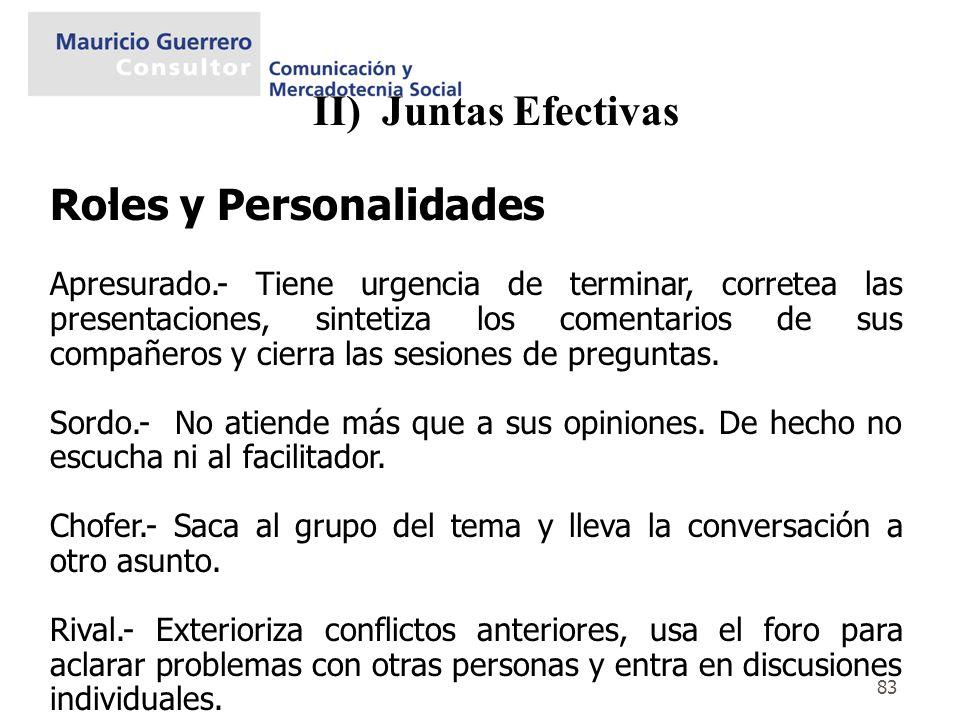 83 II) Juntas Efectivas. Roles y Personalidades Apresurado.- Tiene urgencia de terminar, corretea las presentaciones, sintetiza los comentarios de sus