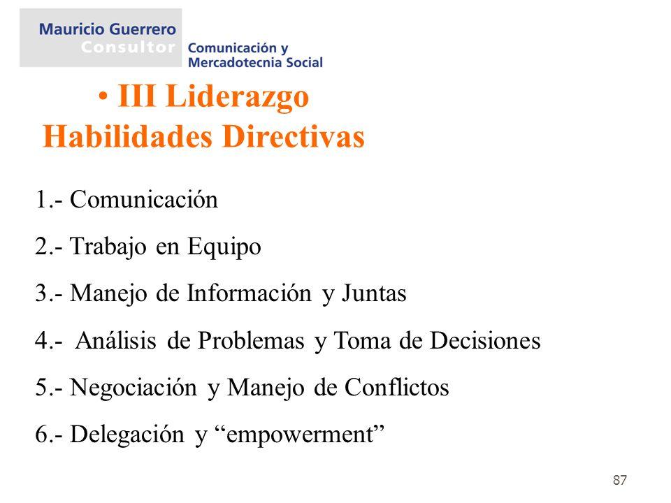 87 III Liderazgo Habilidades Directivas 1.- Comunicación 2.- Trabajo en Equipo 3.- Manejo de Información y Juntas 4.- Análisis de Problemas y Toma de