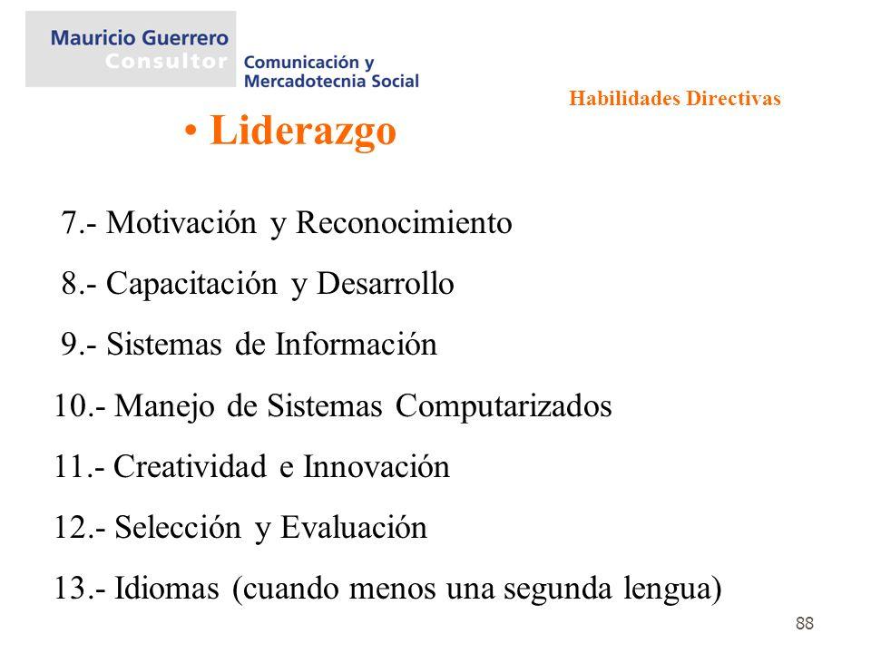 88 Liderazgo 7.- Motivación y Reconocimiento 8.- Capacitación y Desarrollo 9.- Sistemas de Información 10.- Manejo de Sistemas Computarizados 11.- Cre