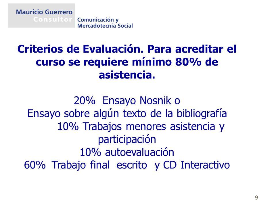 9 Criterios de Evaluación. Para acreditar el curso se requiere mínimo 80% de asistencia. 20% Ensayo Nosnik o Ensayo sobre algún texto de la bibliograf
