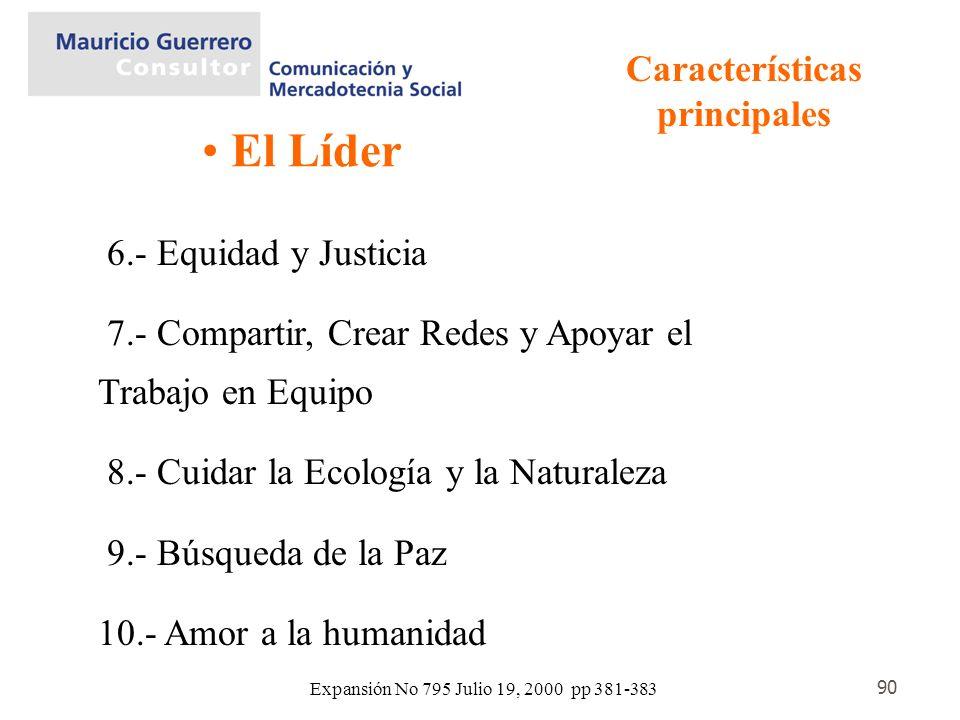 90 El Líder Características principales 6.- Equidad y Justicia 7.- Compartir, Crear Redes y Apoyar el Trabajo en Equipo 8.- Cuidar la Ecología y la Na