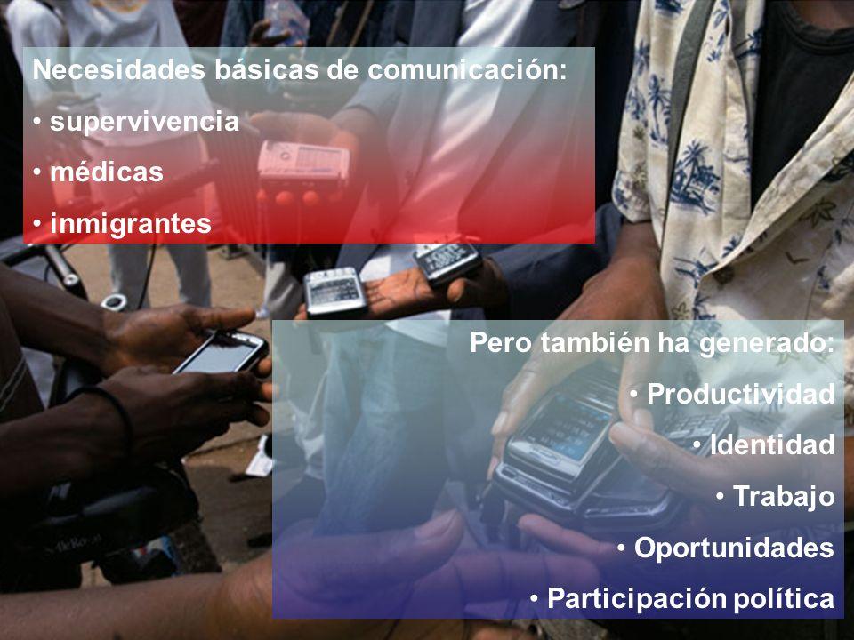 Necesidades básicas de comunicación: supervivencia médicas inmigrantes Pero también ha generado: Productividad Identidad Trabajo Oportunidades Participación política
