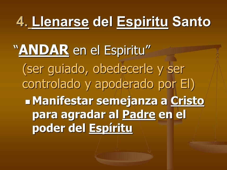 4. Llenarse del Espiritu Santo ANDAR en el Espiritu ANDAR en el Espiritu (ser guiado, obedecerle y ser controlado y apoderado por El) Manifestar semej