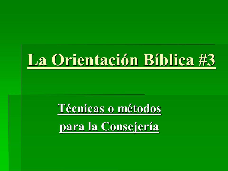 La Orientación Bíblica #3 Técnicas o métodos para la Consejería