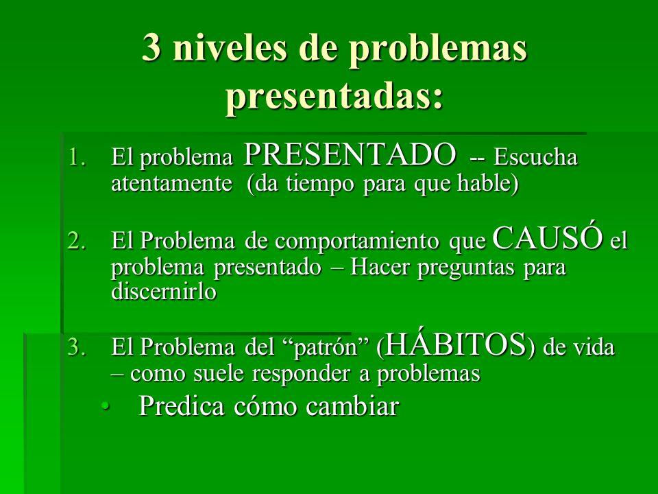 3 niveles de problemas presentadas: 1.El problema PRESENTADO -- Escucha atentamente (da tiempo para que hable) 2.El Problema de comportamiento que CAU
