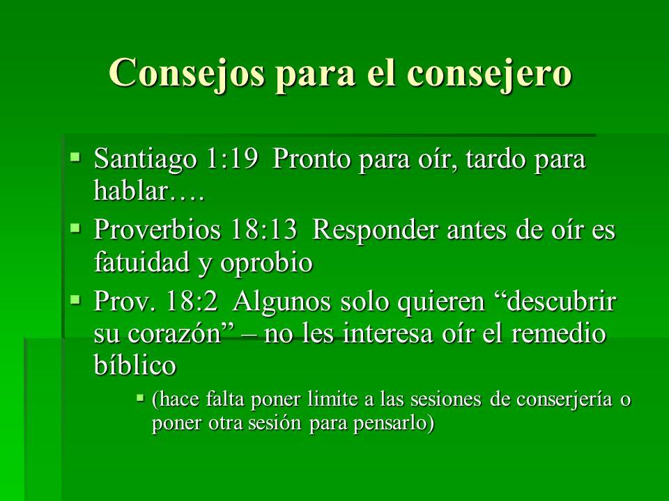 Consejos para el consejero Santiago 1:19 Pronto para oír, tardo para hablar…. Santiago 1:19 Pronto para oír, tardo para hablar…. Proverbios 18:13 Resp