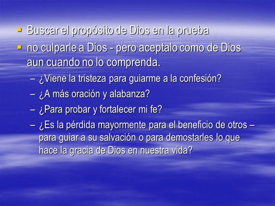 Buscar el propósito de Dios en la prueba Buscar el propósito de Dios en la prueba no culparle a Dios - pero aceptalo como de Dios aun cuando no lo com