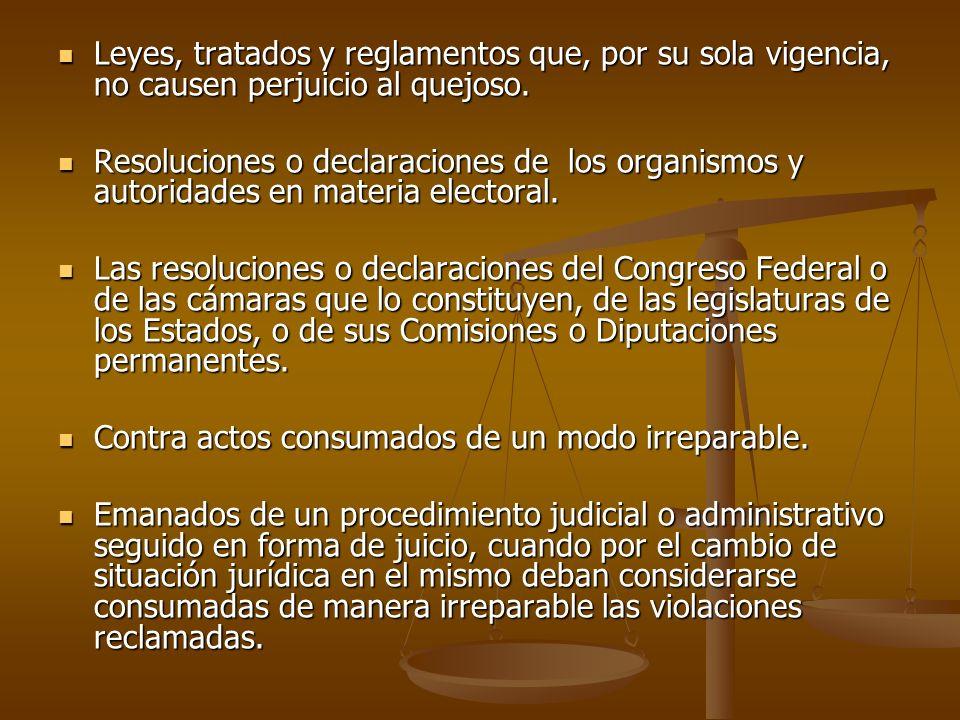Leyes, tratados y reglamentos que, por su sola vigencia, no causen perjuicio al quejoso. Leyes, tratados y reglamentos que, por su sola vigencia, no c