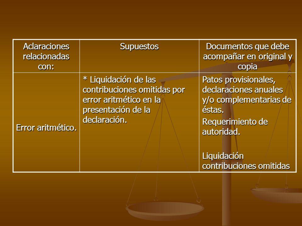 Aclaraciones relacionadas con: Supuestos Documentos que debe acompañar en original y copia Error aritmético. * Liquidación de las contribuciones omiti