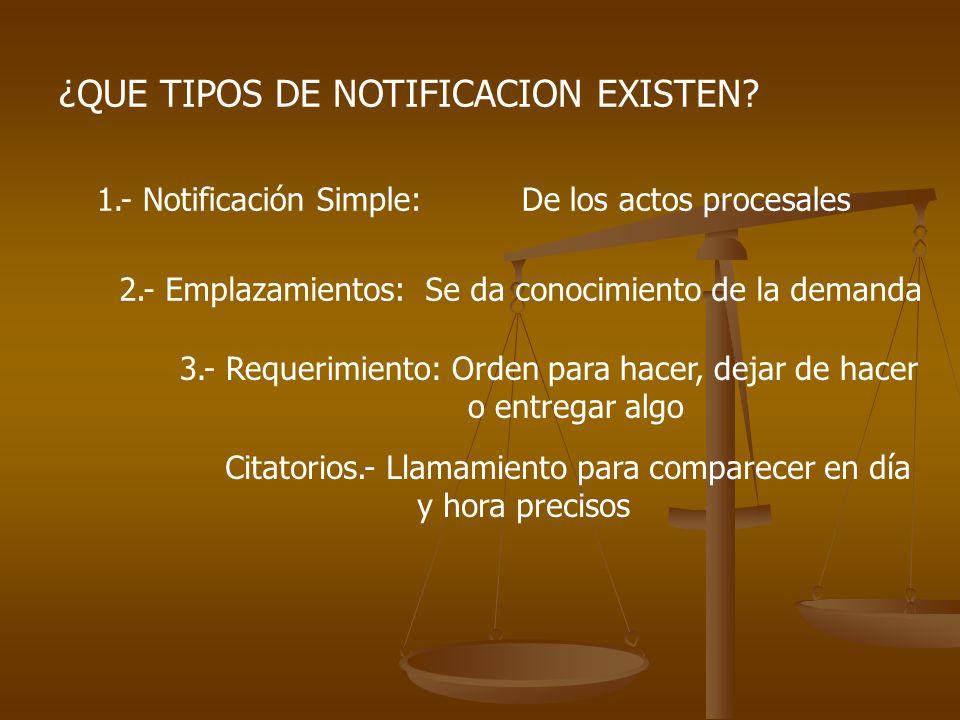 ¿QUE TIPOS DE NOTIFICACION EXISTEN? 1.- Notificación Simple: De los actos procesales 2.- Emplazamientos: Se da conocimiento de la demanda 3.- Requerim