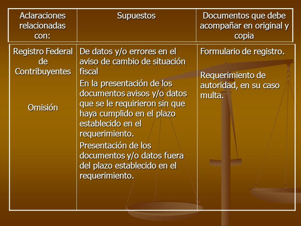 Registro Federal de Contribuyentes Omisión De datos y/o errores en el aviso de cambio de situación fiscal En la presentación de los documentos avisos