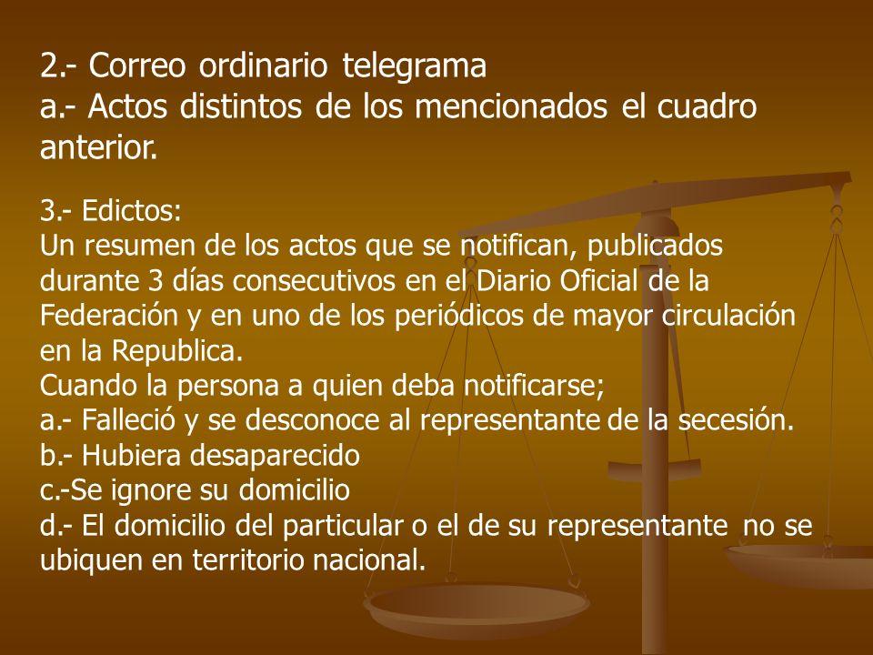 2.- Correo ordinario telegrama a.- Actos distintos de los mencionados el cuadro anterior. 3.- Edictos: Un resumen de los actos que se notifican, publi