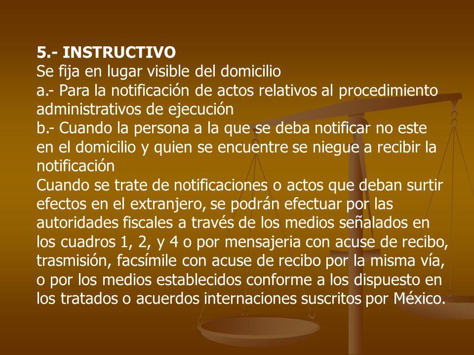 5.- INSTRUCTIVO Se fija en lugar visible del domicilio a.- Para la notificación de actos relativos al procedimiento administrativos de ejecución b.- C