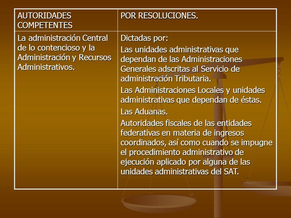 AUTORIDADES COMPETENTES POR RESOLUCIONES. La administración Central de lo contencioso y la Administración y Recursos Administrativos. Dictadas por: La