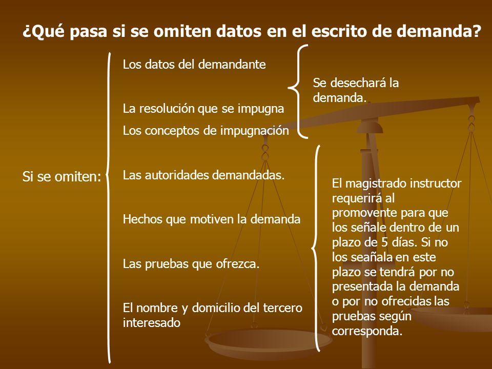 ¿Qué pasa si se omiten datos en el escrito de demanda? Si se omiten: Los datos del demandante La resolución que se impugna Los conceptos de impugnació