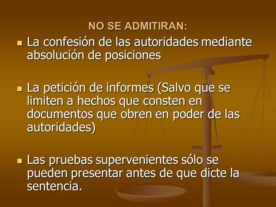 NO SE ADMITIRAN: La confesión de las autoridades mediante absolución de posiciones La confesión de las autoridades mediante absolución de posiciones L