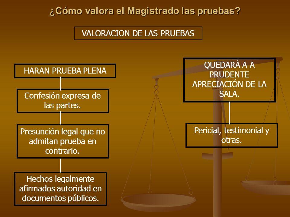 ¿Cómo valora el Magistrado las pruebas? VALORACION DE LAS PRUEBAS HARAN PRUEBA PLENA Confesión expresa de las partes. Presunción legal que no admitan