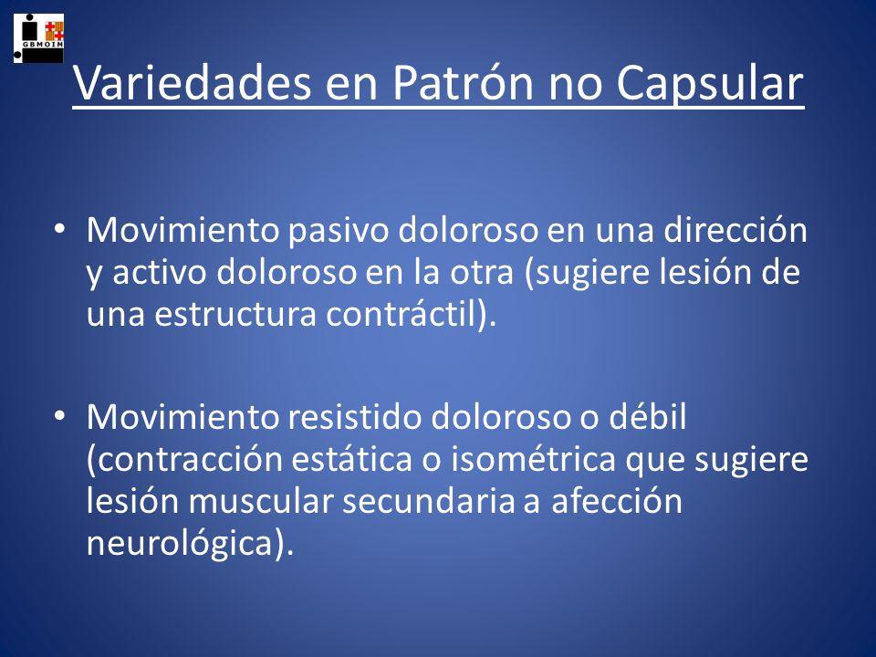 Variedades en Patrón no Capsular Movimiento pasivo doloroso en una dirección y activo doloroso en la otra (sugiere lesión de una estructura contráctil
