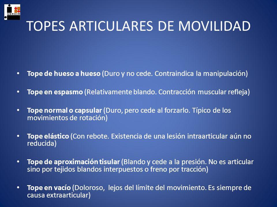 TOPES ARTICULARES DE MOVILIDAD Tope de hueso a hueso (Duro y no cede. Contraindica la manipulación) Tope en espasmo (Relativamente blando. Contracción