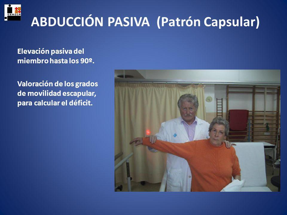 ROTACIÓN EXTERNA PASIVA (Patrón capsular) Con el explorador detrás del paciente, se parte de la posición de brazo pegado al cuerpo y codo flexionado a 90º.