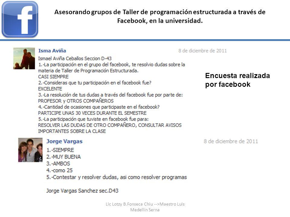 Asesorando grupos de Taller de programación estructurada a través de Facebook, en la universidad. Encuesta realizada por facebook Lic Lotzy B.Fonseca