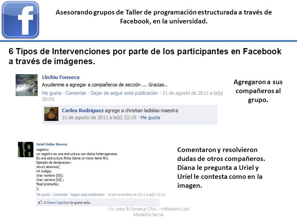 6 Tipos de Intervenciones por parte de los participantes en Facebook a través de imágenes. Asesorando grupos de Taller de programación estructurada a