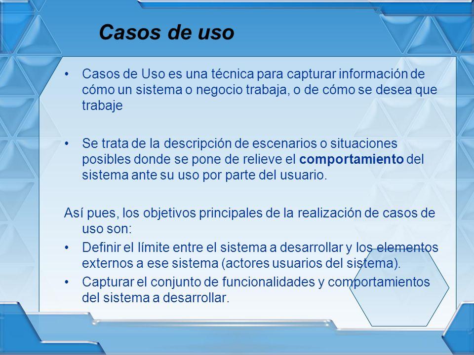 Casos de uso Casos de Uso es una técnica para capturar información de cómo un sistema o negocio trabaja, o de cómo se desea que trabaje Se trata de la