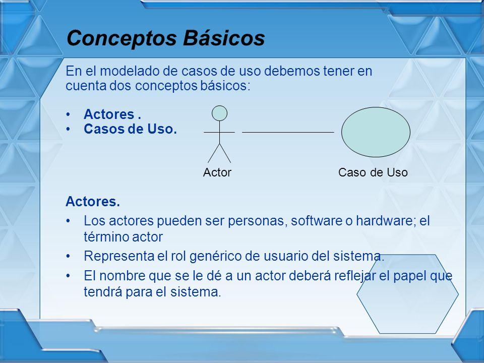 Conceptos Básicos En el modelado de casos de uso debemos tener en cuenta dos conceptos básicos: Actores. Casos de Uso. Actores. Los actores pueden ser