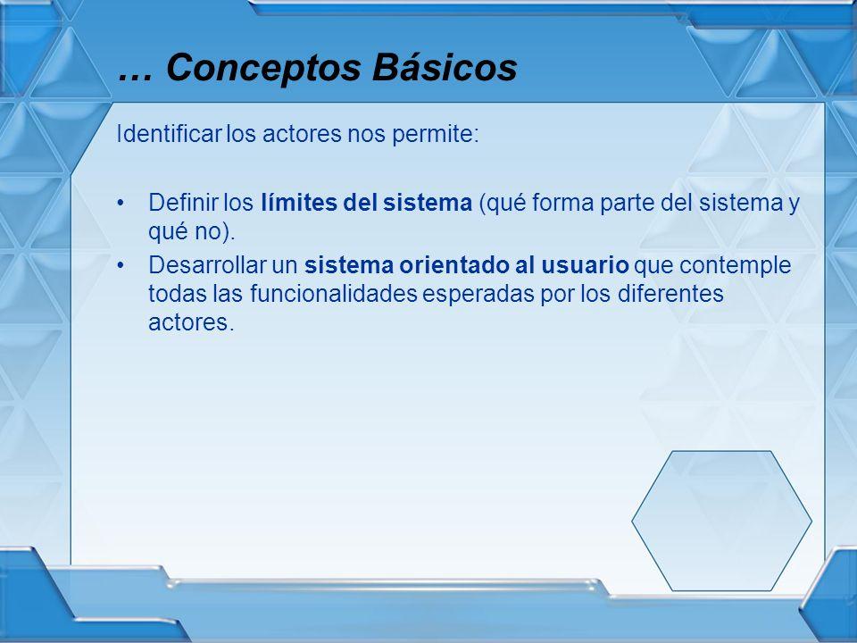 Identificar los actores nos permite: Definir los límites del sistema (qué forma parte del sistema y qué no). Desarrollar un sistema orientado al usuar