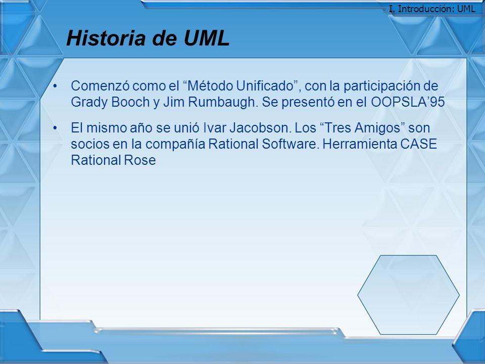 Historia de UML Comenzó como el Método Unificado, con la participación de Grady Booch y Jim Rumbaugh. Se presentó en el OOPSLA95 El mismo año se unió