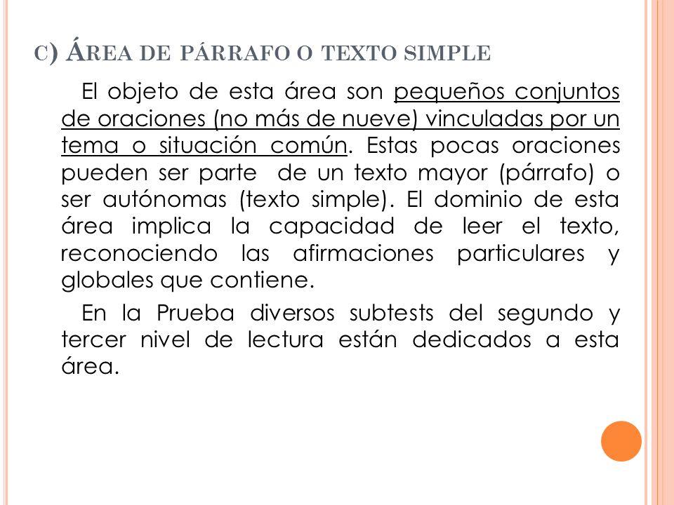 C ) Á REA DE PÁRRAFO O TEXTO SIMPLE El objeto de esta área son pequeños conjuntos de oraciones (no más de nueve) vinculadas por un tema o situación co