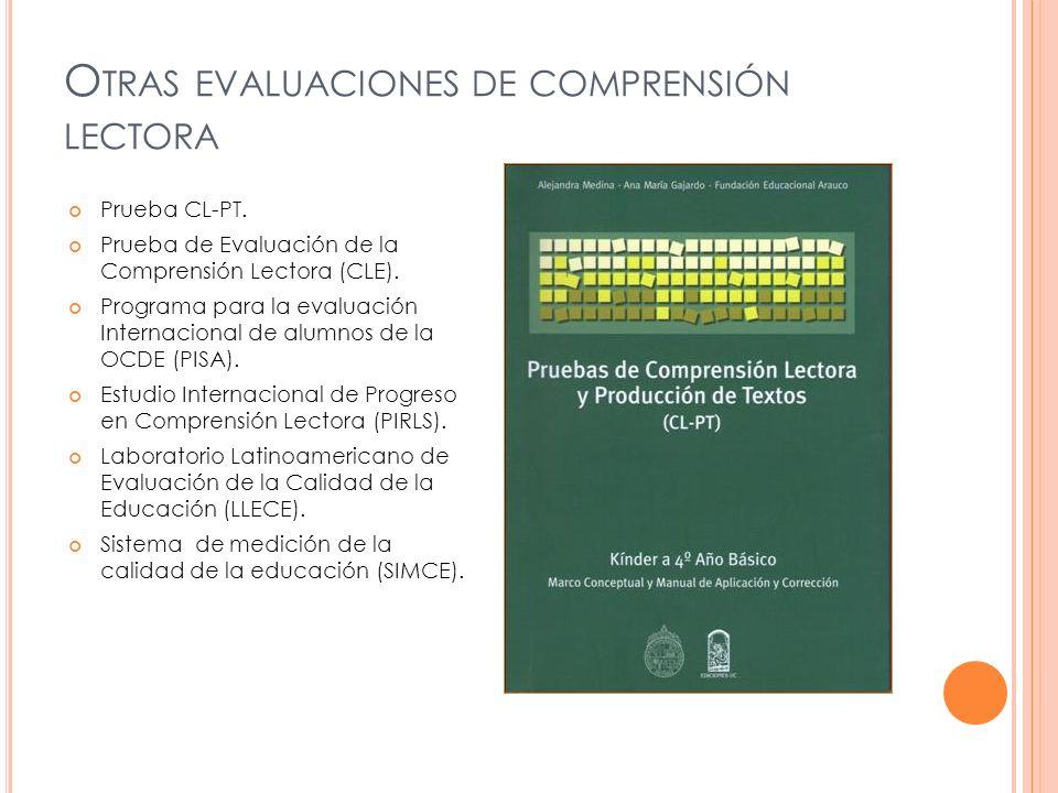 O TRAS EVALUACIONES DE COMPRENSIÓN LECTORA Prueba CL-PT. Prueba de Evaluación de la Comprensión Lectora (CLE). Programa para la evaluación Internacion